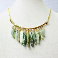 Green Kyanite Wire Wrapped Gold Bib Earthy Boho Statement Necklace
