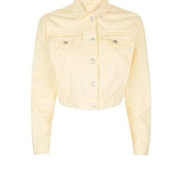 Yellow Cropped Denim Jacket | New Look