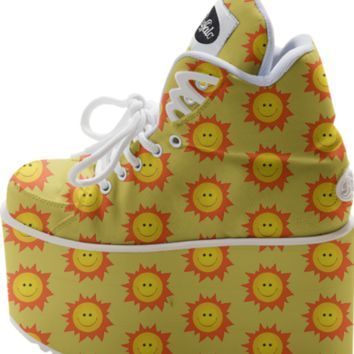 Smiling Happy Sun Pattern Buffalo Platform created by Cute Strange Creatures | Print All Over Me