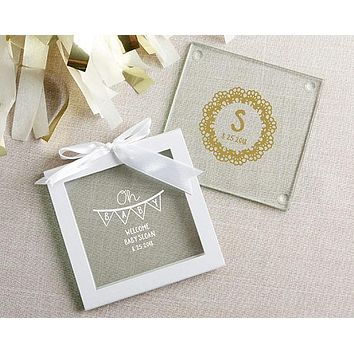 Personalized Glass Coasters - Rustic Charm Baby Shower (Set of 12)