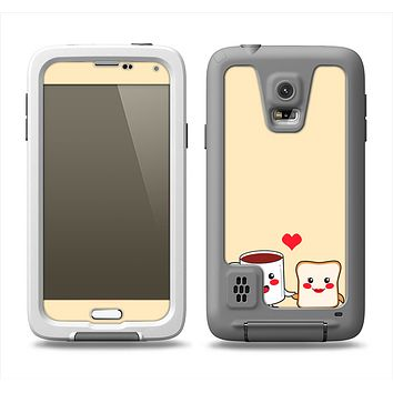 The Cute Toast & Mug Breakfast Couple Samsung Galaxy S5 LifeProof Fre Case Skin Set