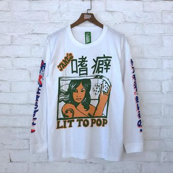 2018fw Xieruis Chinese Printed Women Men Long Sleeve T shirts tees Hiphop Kanye West Brand Clothing Men Cotton T shirt
