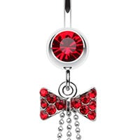 Jeweled Bow-Tie Bead Dangle Belly Button Ring