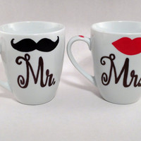 His and Her, Mr. and Mrs. Lip and Mustache Coffee Mugs