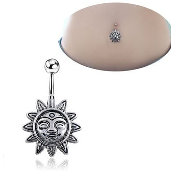 New Charming Dangle Crystal Navel Belly Ring Bling Barbell Button Ring Piercing Body Jewelry = 4661792836