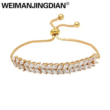 WEIMANJINGDIAN Brand Top Quality Marquise Cut Leaf Cubic Zirconia CZ Crystal Bracelets for Women or Wedding Bride or Bridesmaid