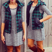 Perfect Plaid Vest - Green
