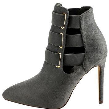 Triple Threat Gray ankle boot