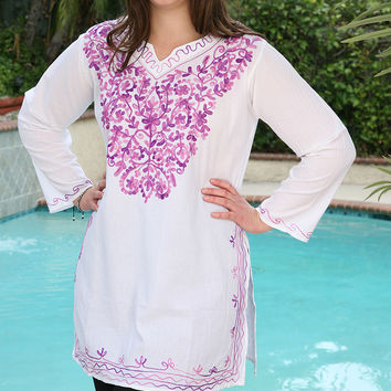 Anandas Collection White & Lilac Embroidered Notch Neck Tunic - Plus | zulily
