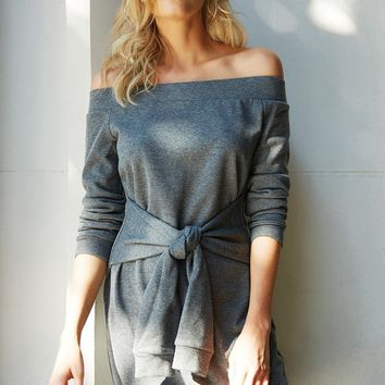 Vial Off the Shoulder Sweatshirt Dress