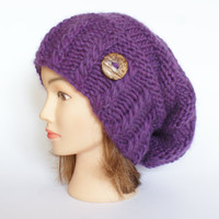 Wool plum purple slouch hat women - beanies hat - Slouch Beanie - Large hat - chunky hat - Chunky Knit Winter Fall Accessories , Slouchy hat