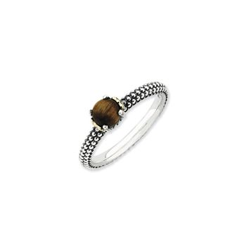 Antiqued Sterling Silver & 14K Gold Plated Stackable Tiger's Eye Ring