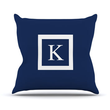 "KESS Original ""Monogram Solid Navy"" Outdoor Throw Pillow"