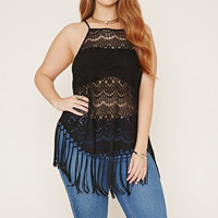 Plus Size Eyelash Lace Cami