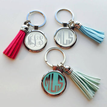 Monogrammed Tassel Key Chain perfect gift for Graduation, Bridesmaid Gifts or a Great Gift to Yourself