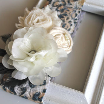 baby cream flower bouquet trio cheetah lace headband for newborn- baby girl-toddler-child-teen- adult