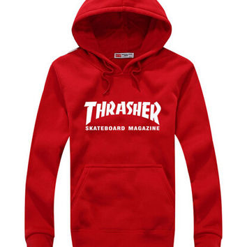 Winter Mens Fleece Thrasher Skateboarding Hoodie - Pullover