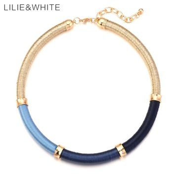 LILIE&WHITE Three Colors Silk Thread Wrapped Necklace For Girls Vintage Style Rope Necklace For Women Trendy Jewelry Gift HB