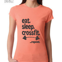 Fitness & Exercise Clothing - Eat Sleep Crossfit Repeat Crew Neck - Ladies