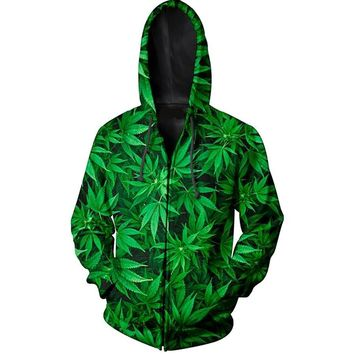 Hoodies For Men Sweatshirts 3D Printed Green Leaf Weed Graphic Pullovers Hip Hop Clothing Hooded Zipper Pocket Hoody Streetwear