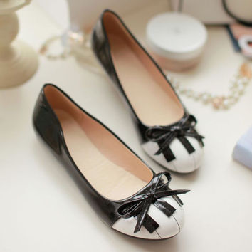 New Small Size 34 39 Women Fashion Fat Heel Comfort Shoes Piano Bow Boat Causal Lady Basic Shoes Black 1-07