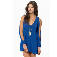 Womens Solid Chiffon V- Neck Off The Shoulder Short Casual Dress