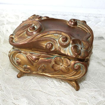 Ornate Art Nouveau Jewelry Casket Dogwood Design with Swirls and Flourishes , Brass Vanity Box , Fancy Vintage Dresser Box
