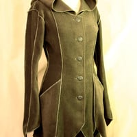 Pointy Hem Faery Elven Fantasy Tauriel Fleece Spring Fall Coat with Pipings and Pixie Hood, Custom size, Many colors