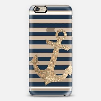 GLITTER ANCHOR IN GOLD AND NAVY - TRANSPARENT CASE iPhone 6 case by Nika Martinez | Casetify
