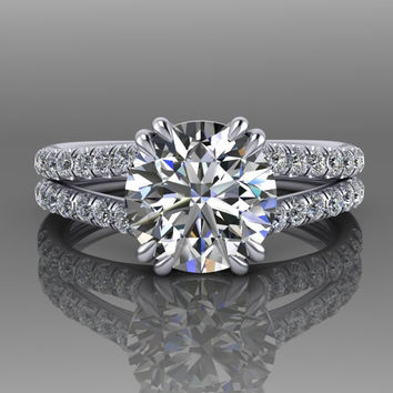 Round Forever One Moissanite and Diamond Engagement Ring