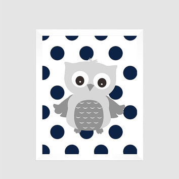 Gray Owl on Navy Polka Dots Print , Baby Nursery Art, CUSTOMIZE YOUR COLORS, 8x10 Prints, nursery decor nursery print art baby room decor