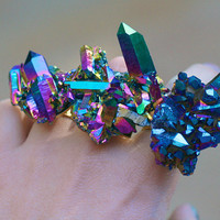 HOLOGRAM  RAINBOW Quartz Cluster Ring