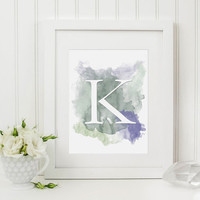 Nursery Wall Art - Watercolor Alphabet - Choose Your Letter - Kids Room Ideas - Purple Green Wall Art - Toddler Room Ideas