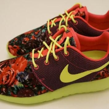 New Nike Roshe Run Custom Red Purple Pink Floral Edition Womens Shoes Sizes 5 - 12