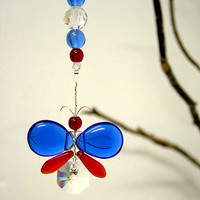 4th July Decor Red White Blue Butterfly Ornament Rear View Mirror Charm Swarovski Crystal Suncatcher Car Charm Window Garland Kids Gift
