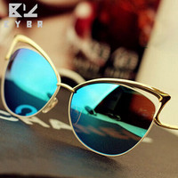 Cat eyes sunglasses for women women's sun glasses summer syle metal brand designer Vintage retro oculos de sol feminino 2016 new