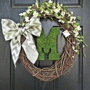 NEW - Rustic White Cherry Blossom Flowers and Chevron Burlap Bow and Moss Monogram Wreath for Wedding, Housewarming, Gift, Summer Wreath