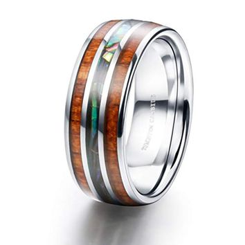 CERTIFIED 8MM Tungsten Wood and Abalone Shell Inlaid Wedding Band Ring