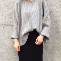 Solid color loose knit sweater