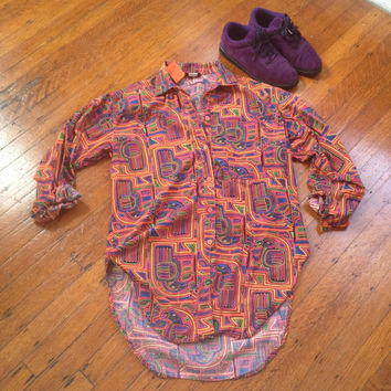 Vintage Bright Multi-Colored Tribal Aztec Gazebo Button Up Fresh Prince Parrot  Shirt Sz Small