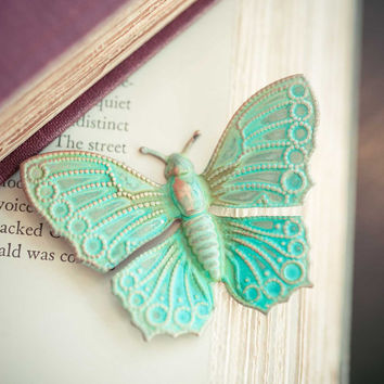 Verdigris Butterfly Brooch Teal Statement Jewelry Vintage Woodland Brosche Spring Garden mint Indie Jewelry Natural History