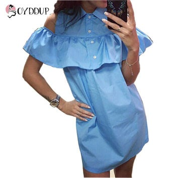 2017 Off Shoulder Beach Casual Butterfly Sleeve Dress
