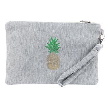 Glitter Pineapple Fabric Zipper w/ Wristlet Cosmetic Bag