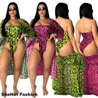 Women Sexy Leopard Two Piece Swimsuit Cover Up Set