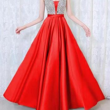 New Red Patchwork Sequin Grenadine Pleated Sparkly Glitter Birthday Prom Evening Party Maxi Dress