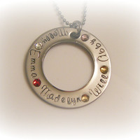 Mothers Necklace - Washer Necklace - Five Names - 5 Names - Birthstone Necklace