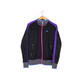NIKE N98 track jacket - black + neon -  mens small