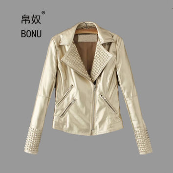 BONU Autumn Motorcycle PU Leather Women Bright Color Turn-down Collar Slim Plus Size Leather Jacket Coat Women Leather Jacket