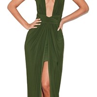 Sunset Boulevard Olive Green Sleeveless Plunge V Neck Draped Slit Front Open Back Maxi Dress Gown