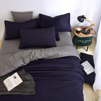Summer New Minimalist Bedding Sets Ink-blue Colour Duver Quilt Cover Bed Sheet Gray Pillowcase Soft Comfortable King Queen Full